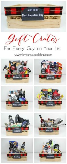 Instead of gift baskets, why not opt for the more manly Gift Crates for guys? The perfect crate for any guy on your list, plus an amazing list of suggestions! design for men Gift Crates for Guys - Wood Worker & Fisherman Diy Gifts For Christmas, Christmas Gift Baskets, Holiday Gifts, Family Christmas, Christmas Presents For Boyfriend, Christmas Ideas For Men, Christmas Presents For Husband, Christmas Store, Christmas Quotes