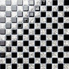 TST Crystal Glass Tiles Black And White Curve Grids Kitchen Bath Backsplash Mosaic Art