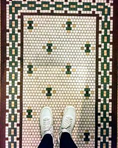 Another great historically authentic mosaic treasure found in our great city. Mosaic Tiles, Mosaic Floors, Mosaics, Lake View, Tile Patterns, Craftsman, City, Chicago, Inspiration