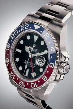 The 2014 Rolex Oyster Perpetual GMT-Master II with a Cerachrom 'Pepsi' bezel made a comeback last year when Rolex relaunched the model with a two-colour bezel in red and blue ceramic and the iconic aesthetics of the original 1955 model. - watch price, latest watches online shopping, best wrist watch for men *sponsored https://www.pinterest.com/watches_watch/ https://www.pinterest.com/explore/watch/ https://www.pinterest.com/watches_watch/watches/ https://en.wikipedia.org/wiki/Watch