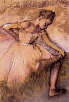 Dancer Stretching by Edgar Degas (French, Post-Impressionism, 1834–1917)   http://www.wikipaintings.org/en/search/degas/1#supersized-search-213584