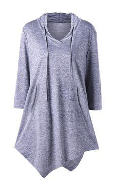 Buy Plus Size Asymmetrical Kangaroo Pocket Drawstring Top - Gray - online, fidn many other Designer Women's Clothing Cheap Tank Tops, Plus Size T Shirts, Loose Tops, Fashion Seasons, Plus Size Women, Plus Size Fashion, Curvy Fashion, Blouses For Women, Fall Outfits