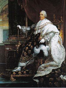 Louis XVIII en habits de sacre , né à Versailles 17/11/1755  mort 16/09/1824  frere cadet de LouisXVI