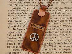 Peace necklace Mixed media jewelry Inspirational jewelry typographic jewelry