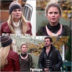 """I just love Hook's face, he's like """"why do you care?"""" But she clearly does care :P Captain Swan <3"""
