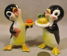 Vintage Unusual Penguin Waiters SP Shakers