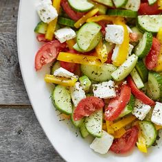 Fresh Tomato, Cucumber & Feta Salad - The Pampered Chef® Cucumber Feta Salad, Cookout Side Dishes, Summer Side Dishes, Feta Salat, Pampered Chef Recipes, American Dishes, Plum Tomatoes, Pasta Dishes, Salads