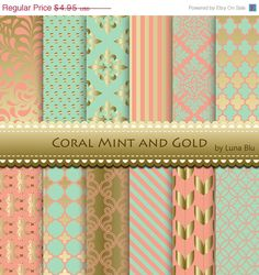 Hey, I found this really awesome Etsy listing at https://www.etsy.com/listing/200470107/sale-60-off-coral-mint-and-gold-digital