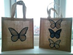 Upcycled denim / hessian bag.  A shopping bag that can also be used as a gift bag