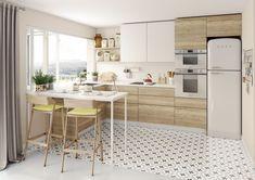 Silver or Black Kitchen Appliances White Appliances, Stainless Steel Appliances, Kitchen Appliances, Bright Kitchens, Black Kitchens, Modern Cabinets, White Kitchen Cabinets, Americana Bedroom, Cocinas Kitchen