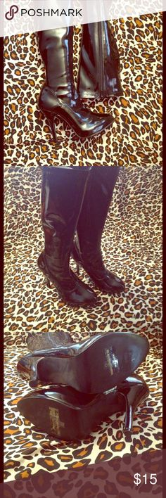 """Black Vinyl Fetish Boots Size 6 Never worn outside of the house!! Beautiful vinyl, no tears or stretching. One small scuff on the heel is pictured ... 4"""" heel, soles in MINT condition, see pic. Size 6 TTS Funtasma Shoes Heeled Boots"""
