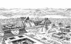Tenochtitlan by artbyjts on DeviantArt Aztec City, Aztec Empire, Aztec Culture, Jungle Art, Digital Ink, Mesoamerican, Conquistador, Historical Art, Perfect World