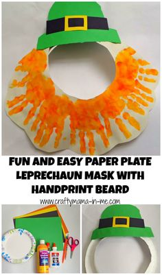 Fun and Easy Paper Plate Leprechaun Mask with Handprint Beard - Crafty Mama in… March Crafts, St Patrick's Day Crafts, Daycare Crafts, Toddler Crafts, Preschool Crafts, Kid Crafts, Preschool Ideas, Daycare Themes, Classroom Crafts