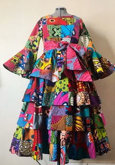 Bodacious Lush and Full African Wax Print Tiered Dress Genuine Handmade Patchwork With Bell Sleeves and Sash Cotton African Fashion Skirts, African Print Dresses, African Print Fashion, African Dress, African Attire, African Wear, Ankara Dress, African Lace, Tiered Dress