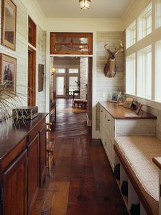 reclaimed wood floor and cabinets