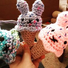 tigersistersdesigns:: I'm holding three colorful super soft crochet amigurumi ice cream bunny cone. This is so fun to make and so cuddly to play with.  These are great for play food and they are also great for having a fun pocket sized toy to take around any day!  http://ift.tt/1XVzXIW  #icecreambunny #icecreambunnycones #crocheticecreambunny #crocheting #crochetdoll #crochettoy #crochetingtoys #crochetaddict #amigurumilove #amigurumidoll #amigurumi #amigurumis #amigurumiaddict #amigurumitoy…