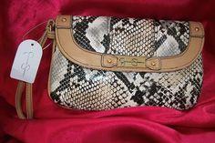 Jessica Simpson Python Snakeskin Abby Wristlet Clutch Handbag $29.99 4HOURS LEFT ON THIS ITEM!!
