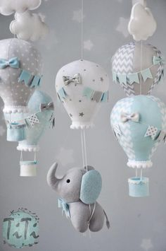 Elephant baby mobile felt baby mobile hot air balloon mobile felt elephant elephant balloon mobile baby blue silver and gray mobile Baby Mobile Felt, Felt Baby, Elephant Balloon, Elephant Elephant, Elephant Mobile, Baby Boy Shower, Baby Shower Gifts, Baby Showers, Baby Elefant
