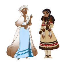 queenchelly:  Frozen Inuit princesses redesigns. <3I think it would have been really awesome if they did something like this instead. Either way, it was really fun to gather reference and draw some snowy cuties.