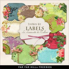 Far Far Hill - Free database of digital illustrations and papers: Freebies Kit of Floral Labels