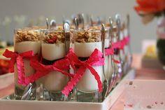 Mini yogurt parfaits tied with ribbons