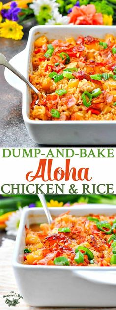 Dump-and-Bake Aloha Chicken and Rice | Easy Dinner Recipes | Dinner Ideas | Chicken Recipes | Chicken Breast Recipes | Casserole Recipes | Bacon #theseasonedmom #chicken #Aloha #rice #bake Mexican Food Recipes, New Recipes, Cooking Recipes, Favorite Recipes, Healthy Recipes, Casseroles Healthy, Pork Recipes, Delicious Recipes, Hardboiled