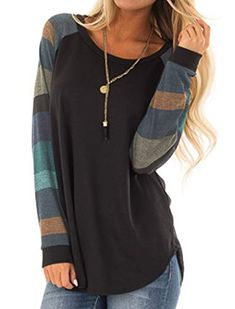 380088d334 Halife Women s Casual Long Sleeve Round Neck Loose Tunic T-Shirt Blouse Tops