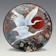 Dave and Boni Deal - Raku Heron and Leaves Platter China Painting, Ceramic Painting, Ceramic Artists, Clay Plates, Ceramic Plates, Raku Pottery, Pottery Art, Pottery Ideas, Feather Wall Art
