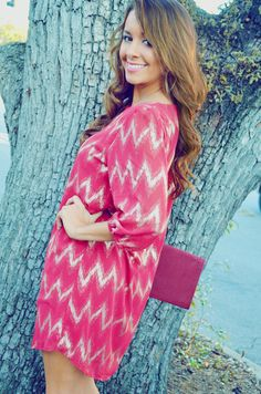 EVERLY: Chevron Shimmer Tunic/Red