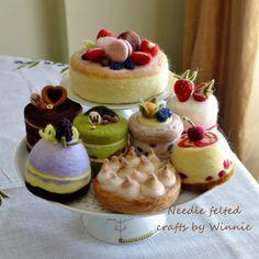 Needle felted dessert Meringue kisses pie by FunFeltByWinnie