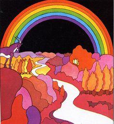 A comic book illustration form the by Miguel calatayud Retro Kunst, Retro Art, Art Pop, Psychedelic Art, Art And Illustration, Art Hippie, Peter Max Art, Kunst Poster, Art Graphique