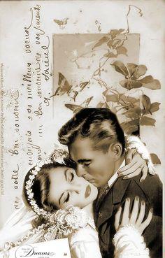 Brocante Brie, vintage bruidsplaatje Vintage Printable, Vintage Labels, Vintage Postcards, Vintage Couples, Vintage Girls, Vintage Photographs, Vintage Images, Barbie Wedding, Wedding Prints