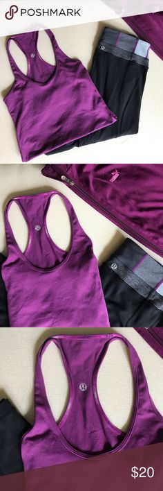 Lululemon Workout shirt Purple, size 6, lululemon workout shirt, stretch material, in good condition lululemon athletica Tops Tank Tops