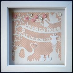 Personalised New Baby Hand made Framed Animal paper cut / Gift / PINK or BLUE