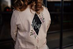 Mrs geometric jacket painted by Mama Inc. The perfect wedding accessory! Photograph by Sam Sparks Photography. Flower Installation, Aisle Style, Wedding Jacket, Different Dresses, Creative Hairstyles, Industrial Wedding, Bridal Accessories, Perfect Wedding, Vegan Leather