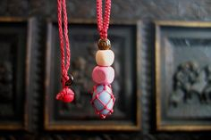 dusty red waxed cord macrame crochet necklace with angelite