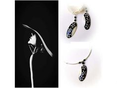 Balck and White Hand-Painted Seashell  Floral Necklace and Earrings with Onyx Gem Stone, Floral jewerly set