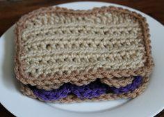 Crochet Play Food: PB & J Sandwich by SheepyShoes on Etsy $10