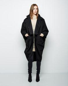 Acne Studios | black cocoon cotton coat | la garconne