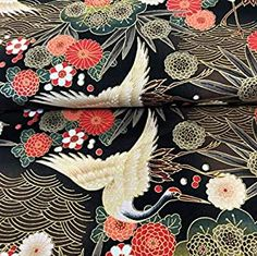 Diving Herons Black with Gold Metallic - Cotton - From Metre