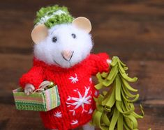 needle felted christmas mouse in sweater with christmas tree and box of hristmas tree balls, winter mouse, felted mouse, needle felted