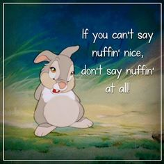 """If you can't say nothing nice, don't say nothing at all"" - disney quotes -oh…"