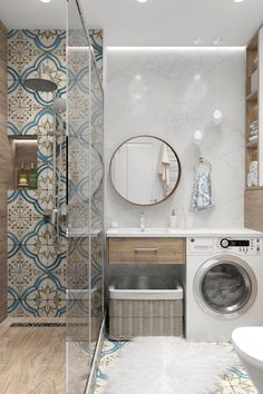 Bathroom Tile Designs, Modern Bathroom Design, Bathroom Interior Design, Laundry In Bathroom, Small Bathroom, Bathroom Wallpaper Trends, Indian Homes, Bathroom Styling, Apartment Design