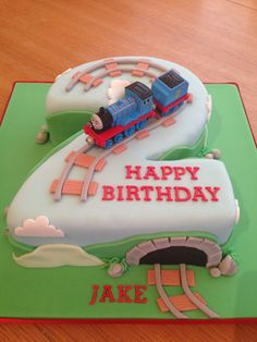Thomas the tank engine number two birthday cake - Birthday Cake Vanilla Ideen Train Birthday Party Cake, 2nd Birthday Cake Boy, Thomas Birthday Cakes, Thomas Cakes, Thomas The Train Birthday Party, Second Birthday Ideas, Train Party, Baby Boy Cakes, Cakes For Boys