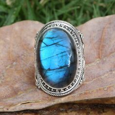 This Labradorite has beautiful colourful flashes of blue . Labradorite is said to increase intuition, brings hope and fortune. Each semi-precious stone is unique. Bridesmaid Rings, Expensive Rings, Gold Filled Jewelry, Gold Jewelry, Jewelry Box, Labradorite Jewelry, Healing Crystal Jewelry, Wide Band Rings, Charm Rings