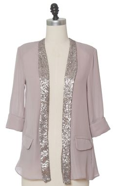 Juniors Clothing - Chloe Loves Charlie - Split Silver Jacket - chloelovescharlie.com | $42.00
