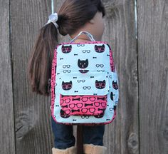 Kitty Backpack for American Girl, 18 inch Doll, Our Generation Doll, Dolly and Me, Bitty Baby by JustForFunStitches.etsy.com