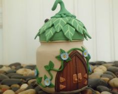 Fairy or elf house treasure jar, candle holder, doulbe doors and stained glass window, unique made w/polymer clay & recycled baby food jar