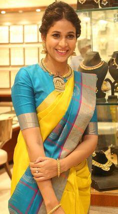 Lavanya Tripathi In Yellow Saree at RS Brothers Launch ★ Desipixer  ★