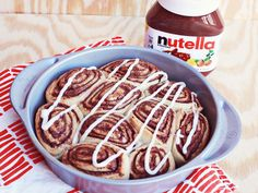 Nutella Cinnamon Rolls... Not my cup of tea, but I sure know who would DIE if I made them.